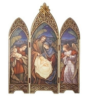 "36.25"" Nativity Triptych. An angel and a Shepherd with Lamb are the side windows that overlook the Holy Family in the center window. An antique gold star is at the top of the center window. Made of a medium density fiberboard. Dimensions are: 36.25""H 28.5""W 0.875""D"