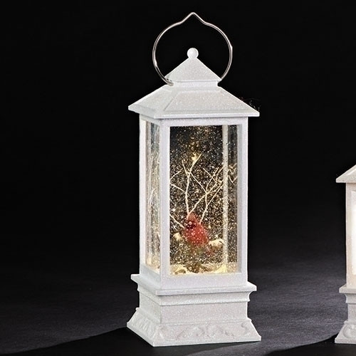 "11"" LED White Swirl Lantern with Cardinal Ornament. Ornament is made of plastic and measures 10.88""H. Battery operated. Batteries not included."
