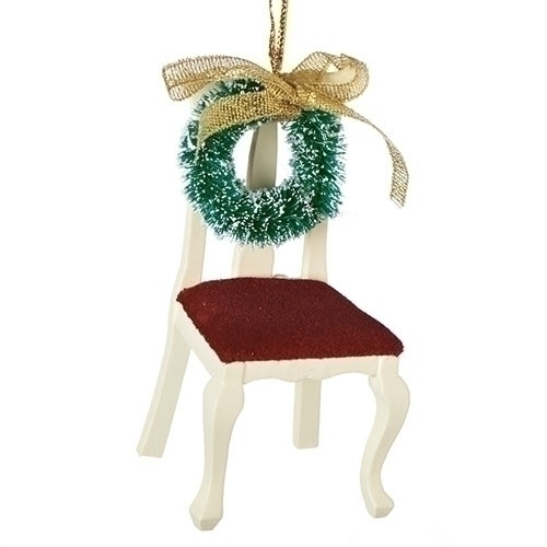 """Memorial Chair Ornament. 3.5"""" chair has a wreath on the back of chair. 3.5""""H Chair with wreath memorial is made of wood and complete measurements are: 3.5""""H 1.75""""W 1.75""""D"""