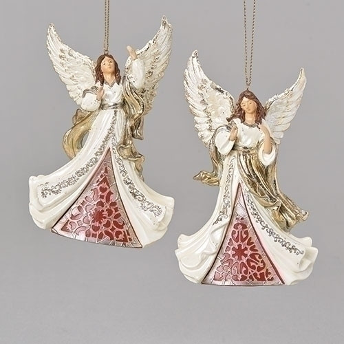 """""""Laser Cut """" Angel Ornament. Ivory and Gold Angel Ornament is made of a resin/stone mix. Dimensions:  5.5""""H x 1.97""""W x 3.5""""L. Choose Angel looking up or Angel looking down."""