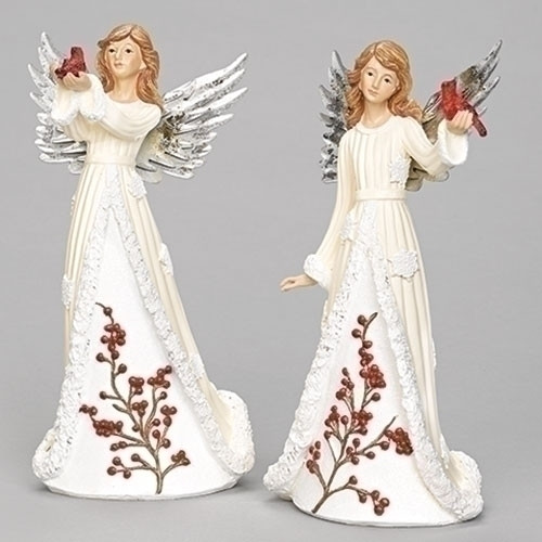 "9.5"" Angel Holding Cardinal Figure. Dress is adorned with holly and snowflakes! Dimensions: 9.44""H x 3.54""W x 4.52""L. Material: Resin/stone mix. One angel only!"