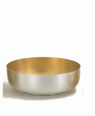 "Satin Silver Open Ciborium. Ciborium has a silver satin finish. Inside is gold lined. Bowl is  6 1/8"" diameter and 2 1/8"" high. Ciborium has a 300 host capacity."