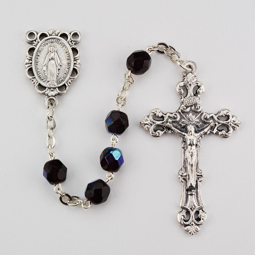 January ~ Garnet  Fired Polished Glass Birthstone Rosaries with Miraculous Medal Centerpiece. Rosary is comprised of 6 millimeter fire polished glass beads. The Centerpiece is a silver oxidised Miraculous Medal  and a silver oxidised Crucifix.  Packaged in a deluxe gift box.