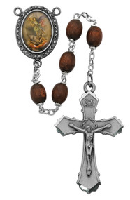 6 X 8mm Oval Brown Wood Bead Rosary. Pewter St. Michael Center and Crucifix. Deluxe Gift Box Included