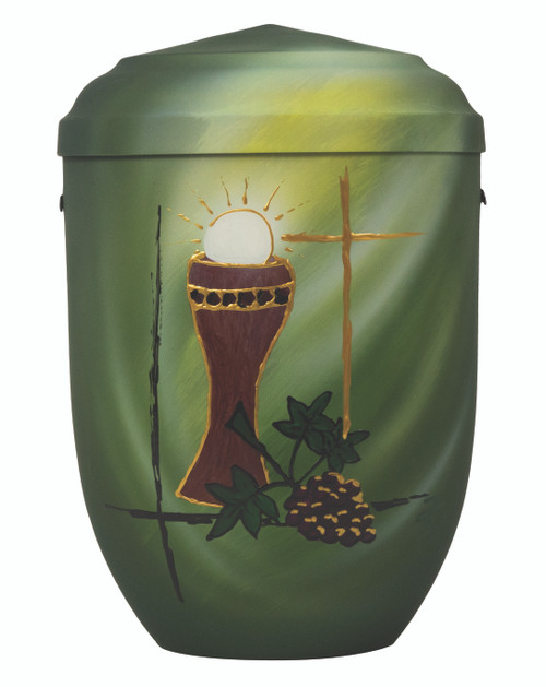 """Green Hand-painted Memorial Urn. Height: 10 1/2"""". Urn has a minimum capacity of 200 cubic inches. Cover is set and threaded."""