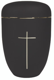 "Black Steel Cremation Urn with Cross.  Height: 10 1/2"". Urn has a minimum capacity of 200 cubic inches. Cover is set and threaded."