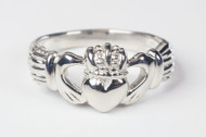 Men's Sterling Silver Claddagh Ring. Sizes 7-12.  Hand Made in the USA. Lifetime Guarantee against tarnishing and defects.  Also 14K gold ring available. Call for pricing