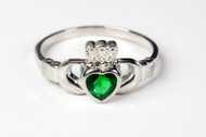Women's Sterling Silver with Emerald Glass Accents Claddagh Ring. Sizes 4-9. Hand Made in the USA. Lifetime Guarantee against tarnishing and defects.