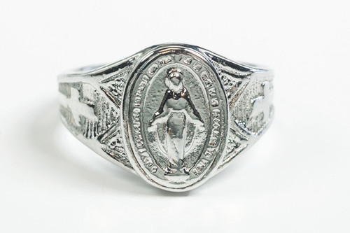 Men's Sterling Silver Miraculous Medal Ring. Sizes 8-12. Hand Made in the USA. Lifetime Guarantee against tarnishing and defects.   Also 14K gold ring available. Call for pricing