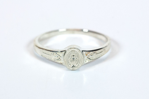 Women's Sterling Silver Miraculous Medal Ring. Sizes 2-6. Hand Made in the USA. Lifetime Guarantee against tarnishing and defects.  Also 14K gold ring available. Call for pricing