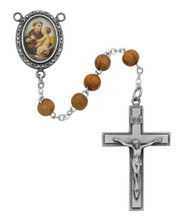 Men's St Anthony  Oval Olive Wood Bead Rosary.  The Crucifix and Centerpiece are made of pewter. The St. Anthony Rosary comes in a Deluxe Gift Box.
