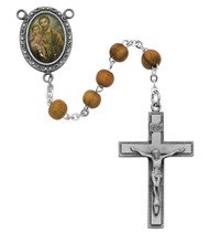 Men's St Joseph Oval Olive Wood Bead Rosary.  The Crucifix and Photo Centerpiece are made of pewter. The St. Joseph Rosary comes in a Deluxe Gift Box.