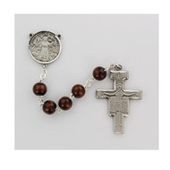 Men's St Francis Oval Olive Wood Bead Rosary.  The Crucifix and Centerpiece are available in sterling silver or  pewter. The St. Francis Oval Brown Bead  Rosary comes in a Deluxe Gift Box.