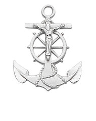 "Sterling Silver 1"" Anchor Crucifix.  Anchor Crucifix comes on a 24"" rhodium plated chain. Anchor Crucifix comes in a deluxe gift box."