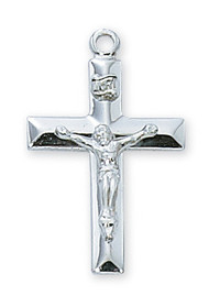"7/8""  Sterling Silver Beveled Edge Crucifix. Crucifix comes on an 18"" Rhodium Plated Chain. Gold or Silver Crucifix comes in a deluxe gift box."