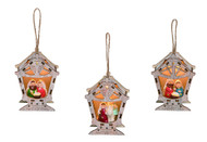 "Light up Nativity Ornaments. wonderful new addition to your Christmas tree this year!  Light up Nativities measure 5.25"" L x 2.00"" W x 4.50"" H. Three different designs."