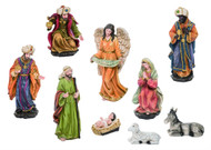 "Large Resin 9 piece Nativity. This resin Nativity measures 5.25"" L x 3.54"" W x 7.68"" H. Nativity includes the Three Wise Men, the Angel, Jesus, Mary,  and Joseph, a laying sheep and laying donkey."