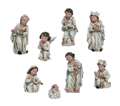 """Children's 8 piece Nativity. This 8 piece resin children's nativity measures 2.25"""" L x 2.00"""" W x 5.00"""" H. Nativity includes child-like images of the Three Wise Men, the Praying Angel, Jesus, Mary,  and Joseph."""