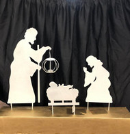 "Metal Silhouette Nativity. Dimensions: 16.00""L x 4.75""W x 32.50""H.  Lantern has a space for an LED votive candle to light the way!"
