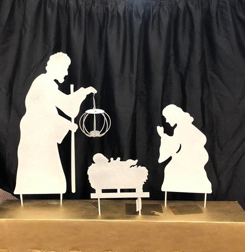 """Metal Silhouette Nativity. Dimensions: 16.00""""L x 4.75""""W x 32.50""""H.  Lantern has a space for an LED votive candle to light the way!"""