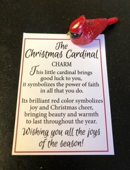 "Cardinal Charms measure 1""L x 1/2""H. Cardinal Christmas Charms come with Prayer Card"