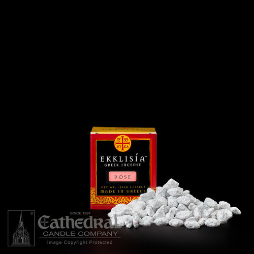 Rose 1/4 lb box. Cathedral's Ekklisia Incense is made in Greece using only premium frankincense resins and the finest aromatic oils. Each batch is carefully blended, pressed, hand-cut, and then cured to create rich, long-lasting fragrances and an unmatched smooth-burning quality. Quarter pound box