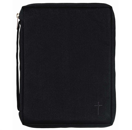 Your Bible Cover is covered with Kodra canvas, a super-durable nylon fabric used by hunters, law enforcement and the military. This Bible cover has a simple embroidered cross accent, along with handy pocket on front and carrying handle on the side. Also features padded lining, nylon reinforced stitching, lay-flat design, and non-rusting, self-repairing zipper. Holds a Bible or book up to 5 1/2W x 81/2H x 1 1/2D .