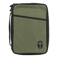 Large Polyester Bible Cover.  Black with Olive thin line with cross embroidery. Bible has a front pocket, a zipper pull. Bible comes with a corrugated box insert, soft handle.  Holds a Bible or book up to 6 1/2W x 9 1/4H x 1 3/4D.