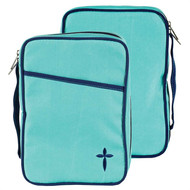 Polyester Canvas Bible Cover. Large Turquoise line with cross embroidery. Bible has a front pocket, a cross zipper pull. A cross is situated on the bottom right corner of the bible cover. Bible comes with a corrugated box insert. Holds a Bible or book up to 6 1/2W x 9 1/4H x 1 3/4D.