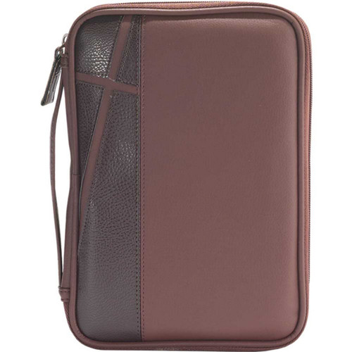 """Medium Bible Case - Brown/Dark Brown with Cross Design. Accommodates book up to 5 1/4"""" x 8 1/2"""" x 1 1/2"""". Bible cover lies completely flat for easy use. Bible has a taffeta lining and comes with a comfortable handle. The exterior has pocket store and a cross design up the left side of cover. Bible has reinforced stitching and has  a custom zipper pull"""
