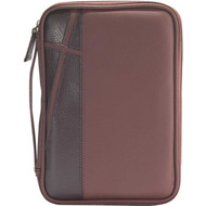 "Medium Bible Case - Brown/Dark Brown with Cross Design. Accommodates book up to 5 1/4"" x 8 1/2"" x 1 1/2"". Bible cover lies completely flat for easy use. Bible has a taffeta lining and comes with a comfortable handle. The exterior has pocket store and a cross design up the left side of cover. Bible has reinforced stitching and has  a custom zipper pull"