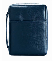 This blue vinyl bible cover accommodates a bible or book up to the size stated. Blue-Soft Vinyl w/ Cross. This Bible cover has a simple cross accent, along with handy pocket on front and carrying handle on the side. Also features padded lining, nylon reinforced stitching, lay-flat design, and non-rusting, self-repairing zipper. Holds a Bible or book up to 5 1/2W x 81/2H x 1 1/2D .