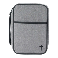 This bible covers features  linen-like weave of  polyester/cotton. Bible has a front pocket with an embroidered black cross. Piping trim and carrying handle are black. Deluxe zipper pull is an open cross shape. Lay flat construction allows easy Bible readying and study. Inside is fully lined with black taffeta and has attached ribbon bookmark and loop for your pen. With nylon reinforced stitching, non-rusting, self-repairing zipper, this sturdy cover is ready to protect your Bible for years. Large size fits a Bible or book up to 6 1/2 x 9 1/4 x 1 3/4 .