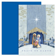 """NATIVITY BENEATH THE STAR"" Christmas Cards. Boxed holiday card featuring four color printing. Inside Sentiment: ""MAY THE LOVE AND WARMTH THAT IS ALL AROUND US AT CHRISTMAS TIME FILL YOUR HEART WITH JOY AND SHED RADIANCE OVER THE YEAR THAT LIES AHEAD"". 18 cards / 18 envelopes. Folded Card Size: 5.625 x 7.875. Packaged in a printed box with an inside fit acetate lid."