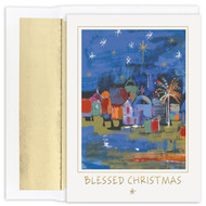 "Blessed City  Boxed Christmas Card.  Boxed Christmas cards featuring gold foil. Inside Sentiment: ""May the peace and joy of Christmas be yours throughout the New Year"". 18 cards / 18 foil lined envelopes. Folded Card Size: 5.625 x 7.875. Packaged in a printed box with an inside fit acetate lid."