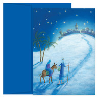 """His Love at Christmas,"" Boxed Christmas cards featuring a magnetic keepsake box and colorful inside printing. Inside Sentiment: ""May His love be in your heart this Christmas and all throughout the year"". 18 cards / 18 envelopes. Folded Card Size: 5.625 x 7.875. Packaged in a keepsake box."