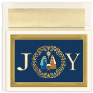 """Joy Nativity Holiday Collection Boxed Christmas Card. Christmas card featuring gold foil and embossing. Inside Sentiment: """"MAY THE LOVE AND WARMTH THAT IS ALL AROUND US AT CHRISTMAS TIME FILL YOUR HEART WITH JOY AND SHED RADIANCE OVER THE YEAR THAT LIES AHEAD """". 16 cards / 16 foil lined envelopes. Folded Card Size: 7.875 x 5.625. Packaged in a printed box with an inside fit acetate lid."""