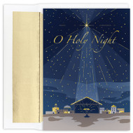 "O Holy Night ~  Boxed Christmas Cards. Boxed Christmas cards featuring gold holographic foil. Inside Sentiment: ""May the love and warmth that is all around us at Christmas time fill your heart with joy and shed radiance over the year that lies ahead"".  16 cards / 16 foil lined envelopes. Folded Card Size: 5.625 x 7.875. Packaged in a printed box with an inside fit acetate lid."