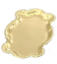 "Brass/lacquer Tray. Measurements: 9 1/4"" x 6""."