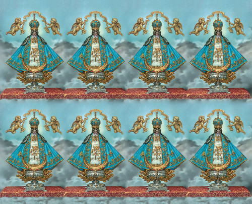 """Virgin of San Juan Prayer Cards from the Bonella Line. Bonella artwork is known throughout the world for its beautiful renditions of the Christ, Blessed Mother and the Saints. 8 1/2"""" x 11"""" sheets with tab that separates into 8- 2 1/2"""" x 4 1/4"""" cards.  No charge for personalization.  Can be laminated at an additional cost.  ( Price per sheet of 8) Imported from Italy"""