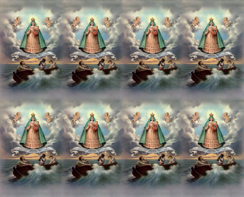 """Caridad del Cobre Prayer Cards from the Bonella Line. Bonella artwork is known throughout the world for its beautiful renditions of the Christ, Blessed Mother and the Saints. 8 1/2"""" x 11"""" sheets with tab that separates into 8- 2 1/2"""" x 4 1/4"""" cards.  No charge for personalization.  Can be laminated at an additional cost.  ( Price per sheet of 8) Imported from Italy"""
