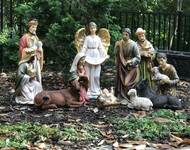 "This 20"" large scale Nativity Scene is made of a durable fiberglass-resin construction. Full colored, hand painted Nativity figures! This Nativity Set is perfect for indoor and outdoor use! Nativity Set comes complete with 12 Total Pieces;  Mary, Joseph, Infant Jesus (removable from crib), Three Wise Men, Shepherd, Angel, Cow, Donkey, and Sheep. Beautiful detail makes this nativity perfect for your church, School or Institution.  A stable or some sort of cover is recommended for outdoor display. Extra animals such as 17"" roosters (53379), 16"" ducks (53378), 25"" goats (53375), camels (53368) are sold separately."