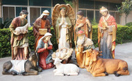 "12 Piece, 72"" Nativity Set - Life Size- full colored fiberglass figures. Breathtakingly beautiful detail makes this traditional Nativity an elegant edition to your church, school or institution. 12 piece 72"" tall set; Infant is removable from crib. Beautiful for indoor or outdoor use. Extra animals are available 17"" duck (53378), 17"" rooster (53379), 28"" goat (53375), 42"" standing camel (53368), 29"" elephant (53389), or 40"" Seated camel (53319)"