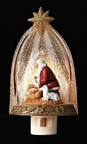 "6"" Kneeling Santa Night Light. Kneeling Santa nightlite has a swivel plug and it made of plastic. Measurements: 6""H 3.25""W 4.25""D"