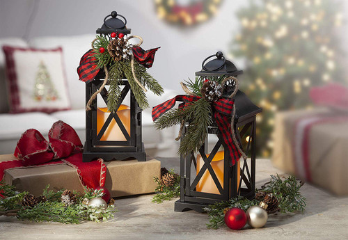"""Set of Two LED Metal Lanterns! This two pack of 10 1/2""""H black metal lanterns are decorated and ready to go for the holidays! Battery operated!"""