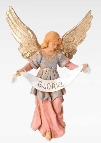 Fontanini Nativity, Gloria Angel Figure.  7.5inH  Resculpted Gloria Angel Figure is made from polymer and comes in a gift box.