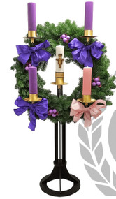 "Advent Wreath ~ The 48"" wreath ring stands nearly vertical, making the candles easily visible to the congregation as they are lit in celebration of Advent.  The wreath rests on an 18-inch black base made of solid steel with a gold or black powder-coat finish.  The wreath ring is outfitted with five sockets with a smooth, satin finish. Please specify your desired size up to three inches.  Sockets over three inches in diameter will accrue an additional charge.  Brass bobeches are included.    This wreath is available with the top and stand or the top only.  A brazier bowl is also available. Perfect for chapel or church. Decoration and candles not included.  Vertical Advent Wreath Details:  48"" Vertical Wreath 3"" Candle Sockets With Satin Finish Black Powder-Coat or Gold Finish 18"" Steel Base Select Wreath, Base and/or Brazier * Decoration & Candles Not Included Made in Tulsa, Oklahoma, USA"