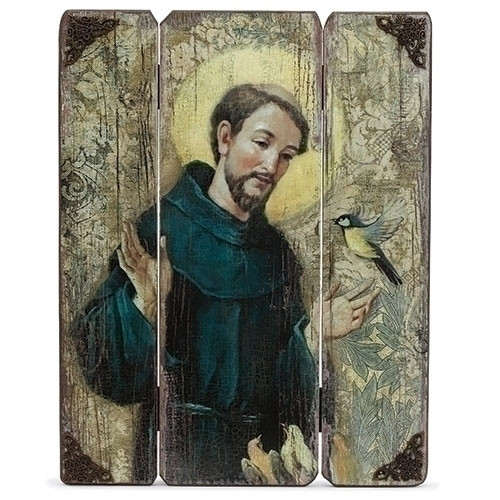 """17""""H St Francis Decorative Panel. St Joseph Decorative Panel/Plaque measures 17""""H x 13"""" x 1""""D. The St Francis Panel is from the Joseph Studios Collection and is made from a medium density fiberboard."""