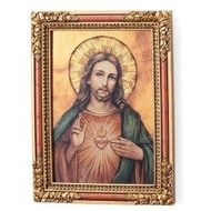 "7.25""H Sacred Heart Icon Square Plaque/Panel. Panel is made of a medium density fiberboard. Dimensions: 7.25 x 6.5""W x 2""D."