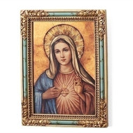"7.25""H Immaculate Heart of Mary Icon Plaque/Panel. Panel is made of a medium density fiberboard. Dimensions: 7.25 x 6.5""W x 2""D."